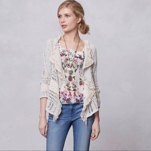 Anthropologie Kitted & Knotted Fringe Cardigan